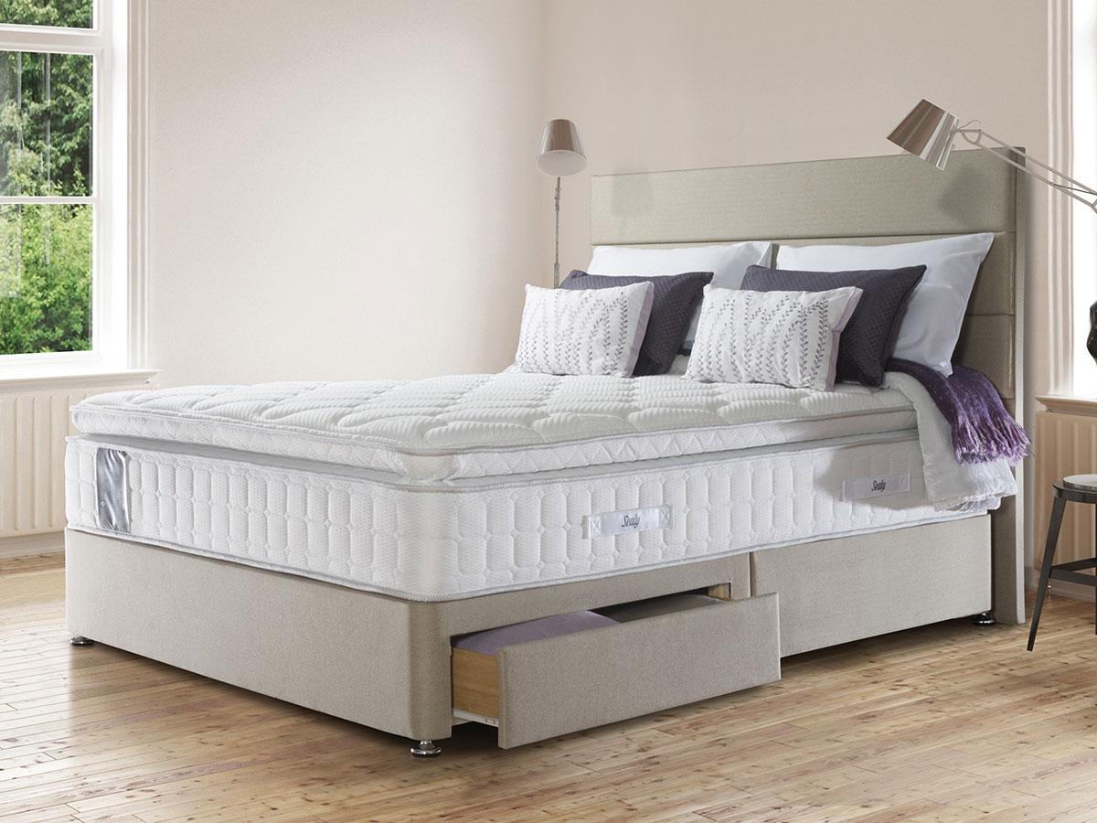 The sleep shop 4ft6 double sealy juliana 2100 divan set for Double divan set